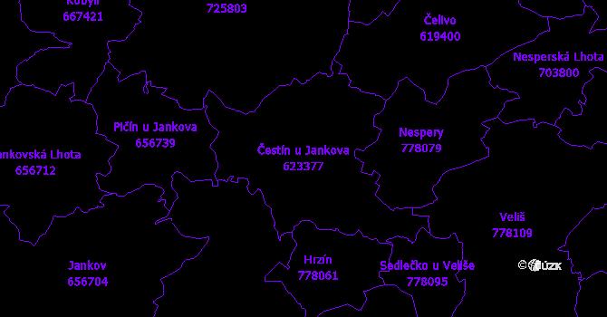 Katastrální mapa Čestín u Jankova - přehledová mapa katastrálního území