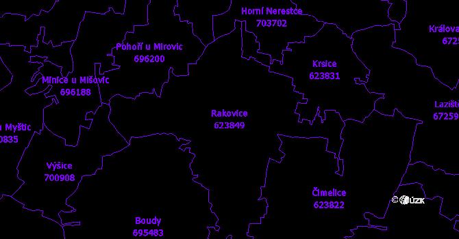 Katastrální mapa Rakovice - přehledová mapa katastrálního území