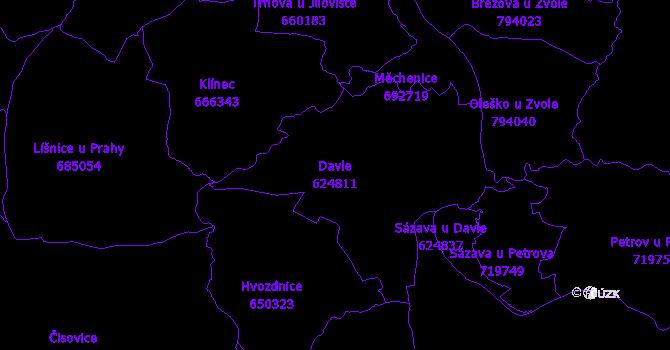 Katastrální mapa Davle - přehledová mapa katastrálního území
