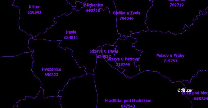 Katastrální mapa Sázava u Davle - přehledová mapa katastrálního území