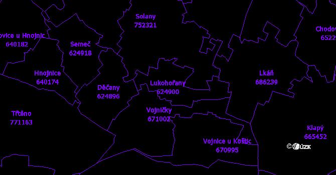 Katastrální mapa Lukohořany - přehledová mapa katastrálního území