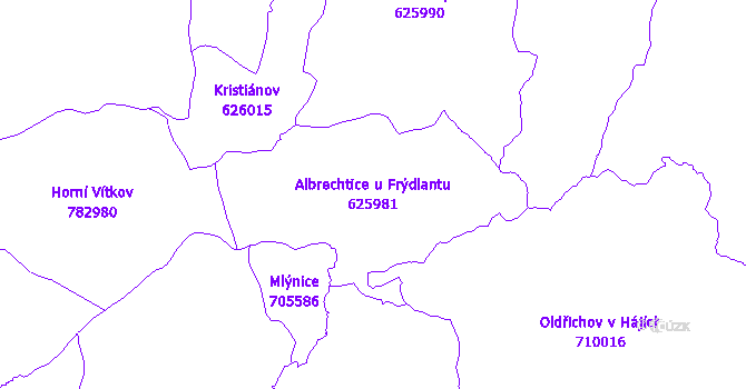 Katastrální mapa Albrechtice u Frýdlantu - přehledová mapa katastrálního území