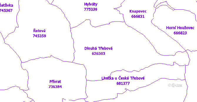 Katastrální mapa Dlouhá Třebová - přehledová mapa katastrálního území