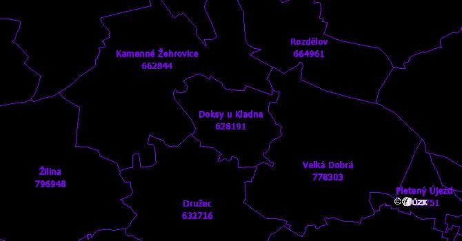 Katastrální mapa Doksy u Kladna - přehledová mapa katastrálního území