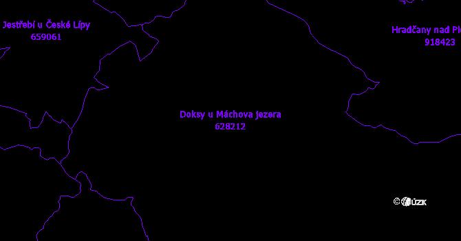 Katastrální mapa Doksy u Máchova jezera - přehledová mapa katastrálního území