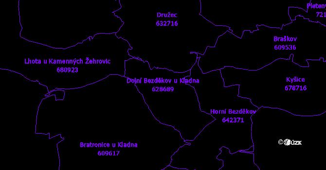 Katastrální mapa Dolní Bezděkov u Kladna - přehledová mapa katastrálního území