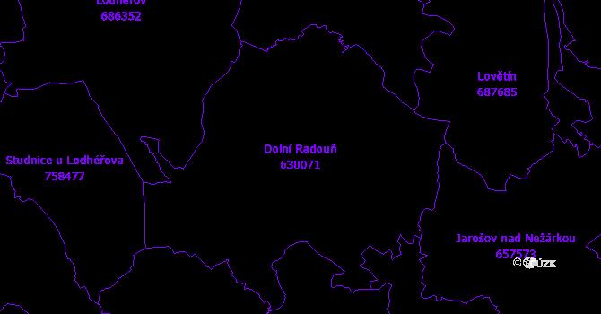 Katastrální mapa Dolní Radouň - přehledová mapa katastrálního území
