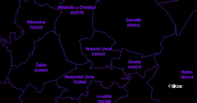 Katastrální mapa Hrazená Lhota - přehledová mapa katastrálního území