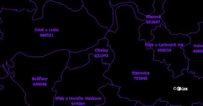 Katastrální mapa Cihelny - přehledová mapa katastrálního území