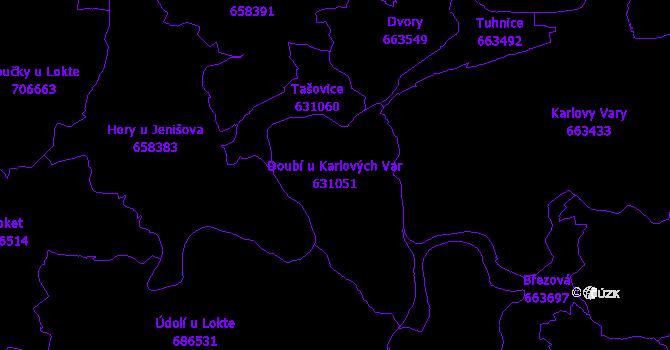 Katastrální mapa Doubí u Karlových Var - přehledová mapa katastrálního území
