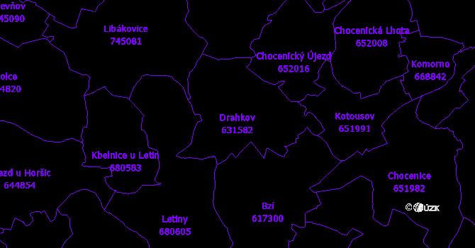 Katastrální mapa Drahkov - přehledová mapa katastrálního území