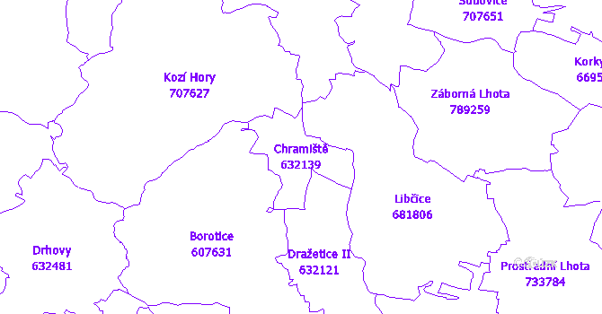 Katastrální mapa Chramiště - přehledová mapa katastrálního území