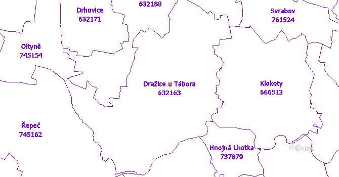 Katastrální mapa Dražice u Tábora - přehledová mapa katastrálního území