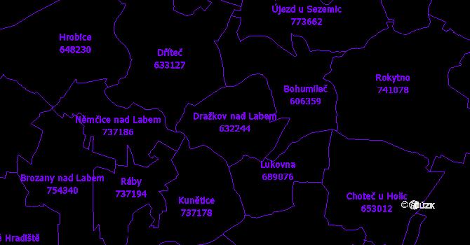 Katastrální mapa Dražkov nad Labem - přehledová mapa katastrálního území