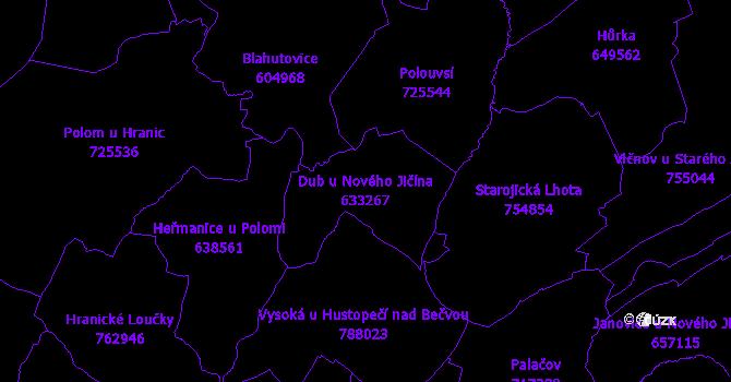 Katastrální mapa Dub u Nového Jičína - přehledová mapa katastrálního území