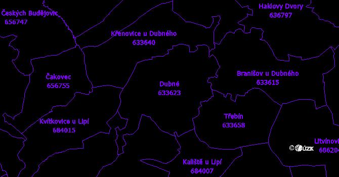 Katastrální mapa Dubné - přehledová mapa katastrálního území