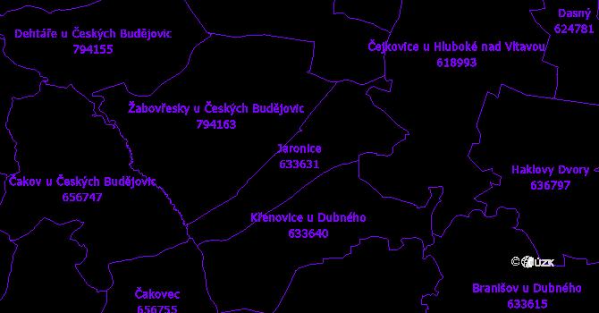 Katastrální mapa Jaronice - přehledová mapa katastrálního území