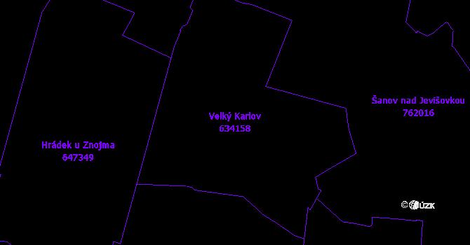 Katastrální mapa Velký Karlov - přehledová mapa katastrálního území