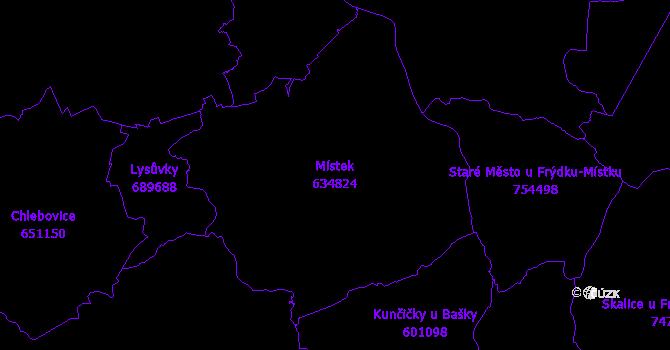 Katastrální mapa Místek - přehledová mapa katastrálního území