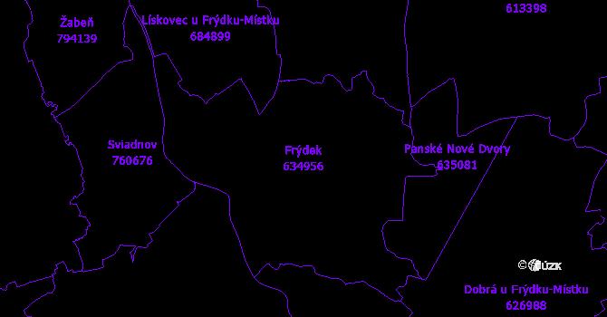 Katastrální mapa Frýdek - přehledová mapa katastrálního území