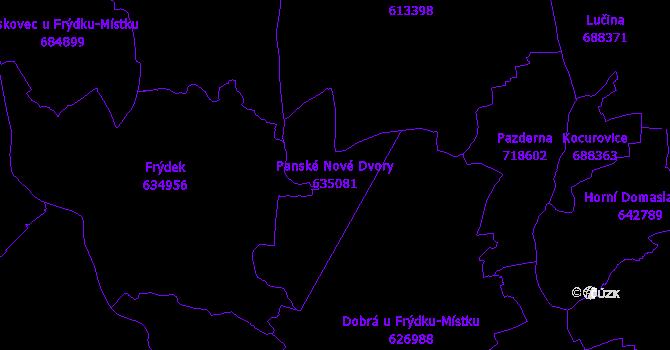 Katastrální mapa Panské Nové Dvory - přehledová mapa katastrálního území