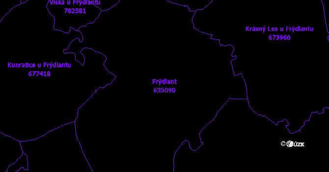 Katastrální mapa Frýdlant - přehledová mapa katastrálního území