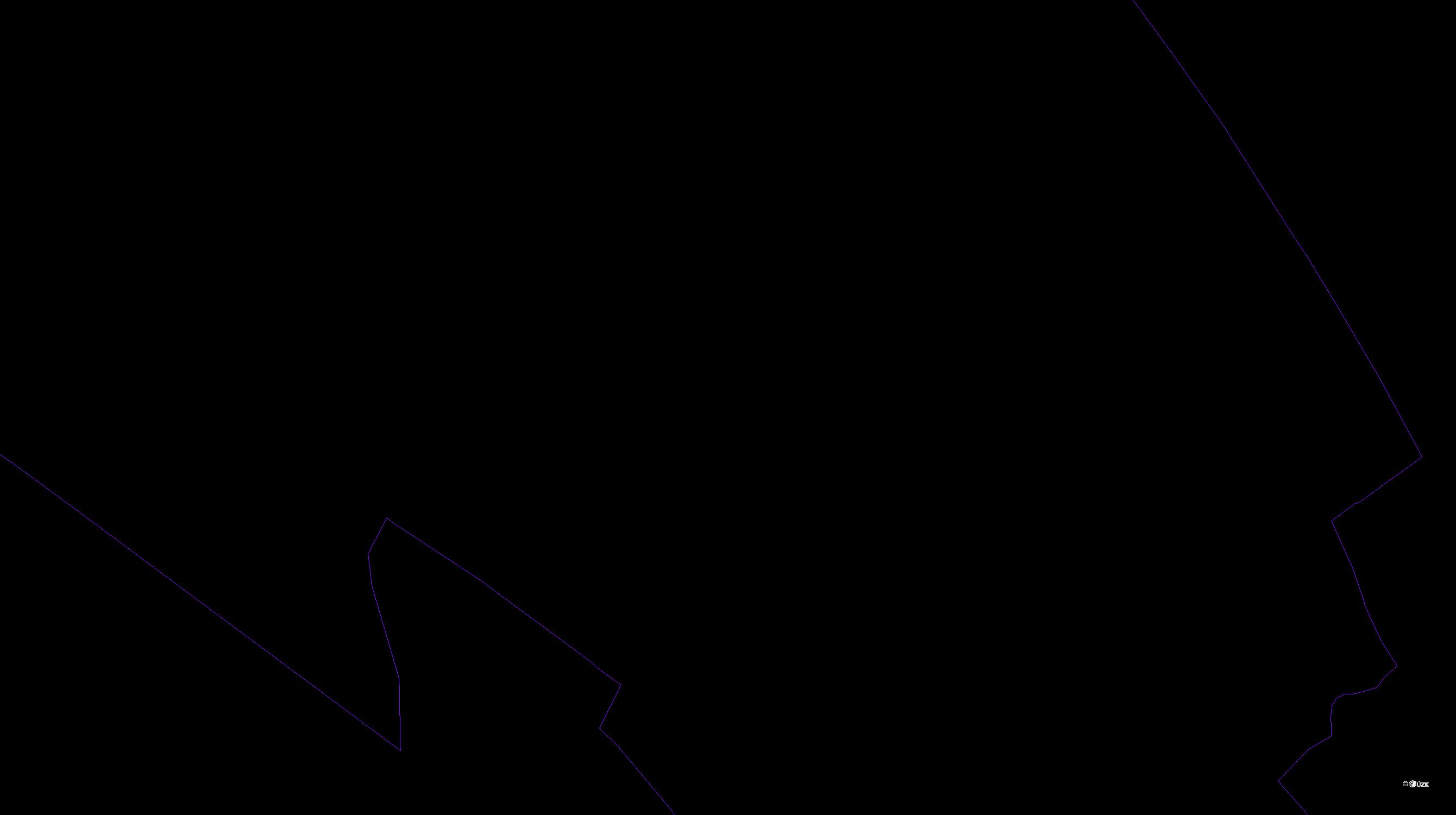 Katastrální mapa pozemků a čísla parcel Fryšták