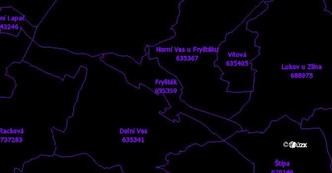 Katastrální mapa Fryšták - přehledová mapa katastrálního území