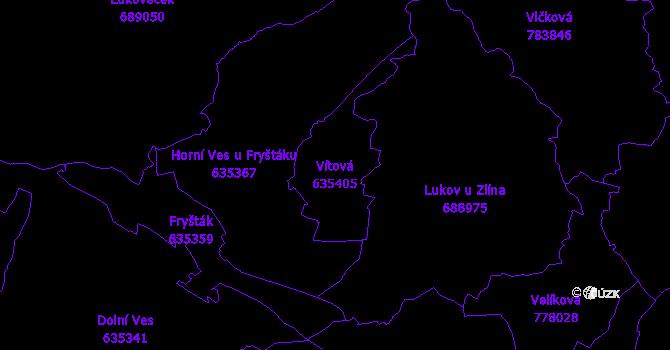 Katastrální mapa Vítová - přehledová mapa katastrálního území