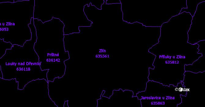 Katastrální mapa Zlín - přehledová mapa katastrálního území