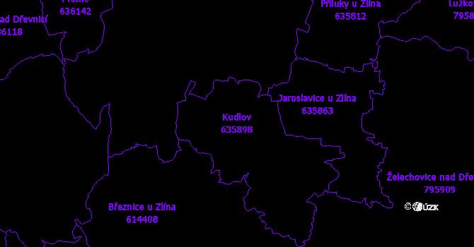 Katastrální mapa Kudlov - přehledová mapa katastrálního území
