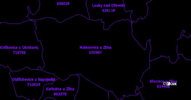 Katastrální mapa Malenovice u Zlína - přehledová mapa katastrálního území