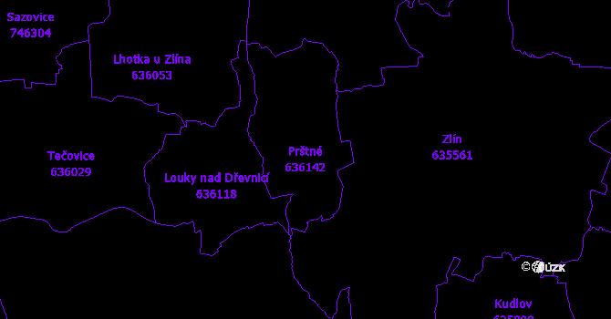 Katastrální mapa Prštné - přehledová mapa katastrálního území