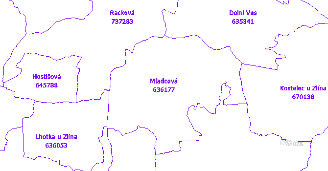Katastrální mapa Mladcová - přehledová mapa katastrálního území