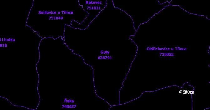 Katastrální mapa Guty - přehledová mapa katastrálního území