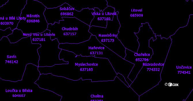 Katastrální mapa Haňovice - přehledová mapa katastrálního území