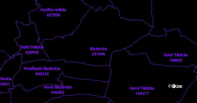 Katastrální mapa Bludovice - přehledová mapa katastrálního území