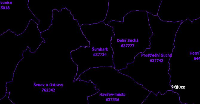 Katastrální mapa Šumbark - přehledová mapa katastrálního území