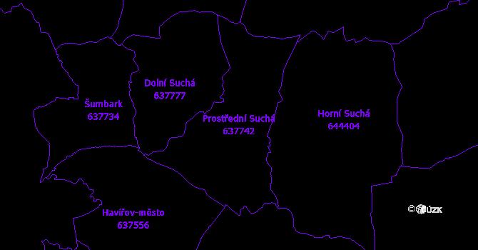Katastrální mapa Prostřední Suchá - přehledová mapa katastrálního území
