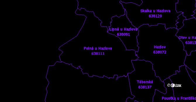 Katastrální mapa Polná u Hazlova - přehledová mapa katastrálního území