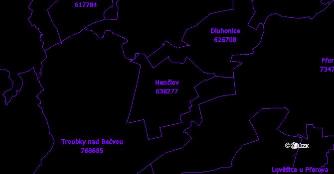 Katastrální mapa Henčlov - přehledová mapa katastrálního území