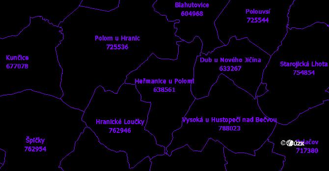 Katastrální mapa Heřmanice u Polomi - přehledová mapa katastrálního území