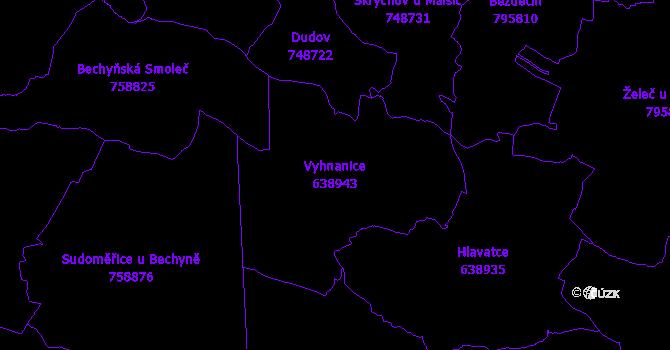 Katastrální mapa Vyhnanice - přehledová mapa katastrálního území
