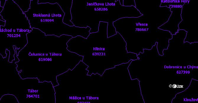 Katastrální mapa Hlinice - přehledová mapa katastrálního území