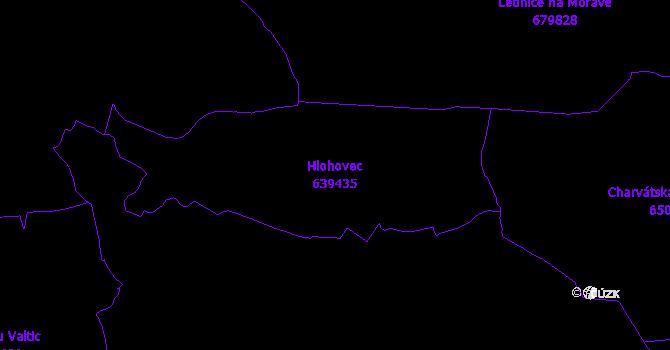 Katastrální mapa Hlohovec - přehledová mapa katastrálního území