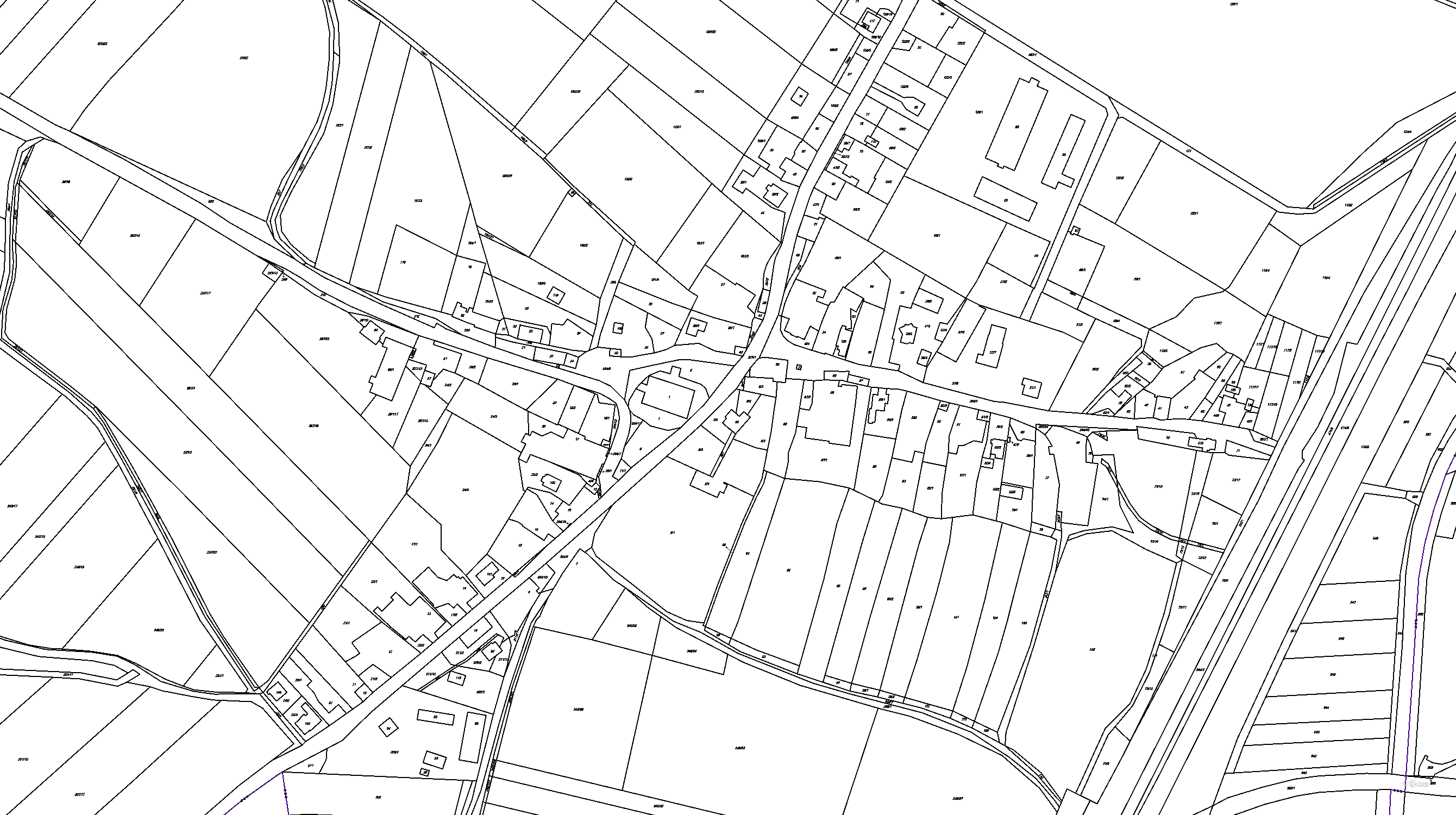 Katastrální mapa pozemků a čísla parcel Hněvčeves