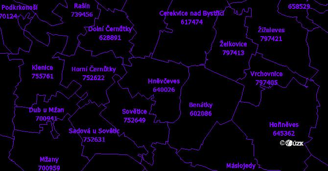 Katastrální mapa Hněvčeves - přehledová mapa katastrálního území