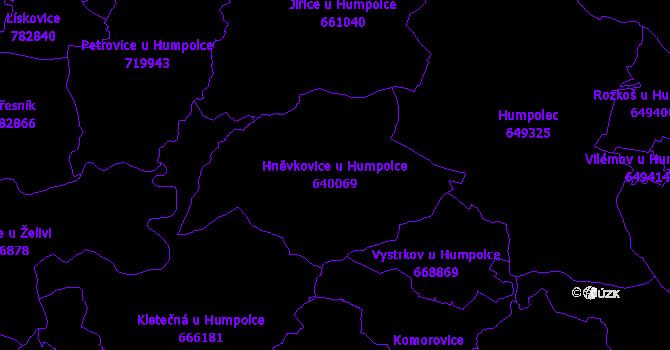 Katastrální mapa Hněvkovice u Humpolce - přehledová mapa katastrálního území