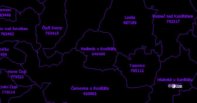 Katastrální mapa Hodonín u Kunštátu - přehledová mapa katastrálního území