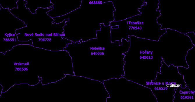 Katastrální mapa Holešice - přehledová mapa katastrálního území